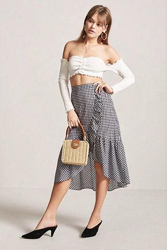 High-low Gingham Skirt