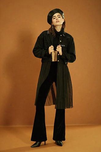 Pierced Mesh-panel Denim Jacket