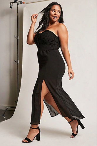 Plus Size Ruched Tube Maxi Dress