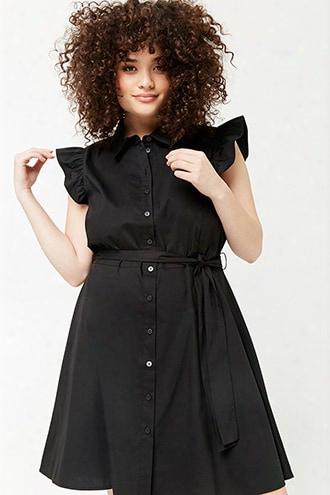 Plus Size Ruffle-sleeve Shirt Dress