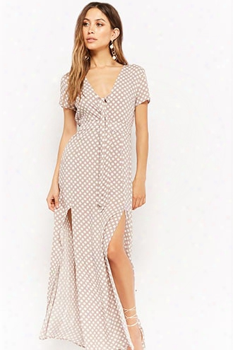 Polka Dot Tie-front Maxi Dress