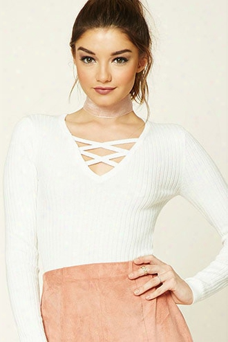 Ribbed Strappy-front Sweater