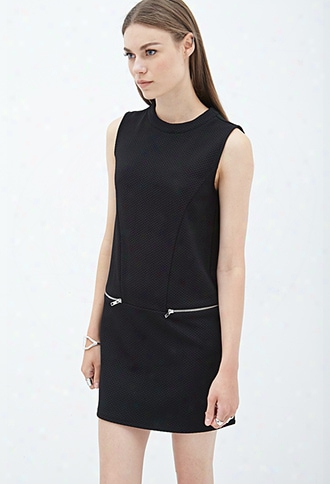 Textured Knit Zipper Dress