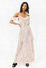 Diamond Dot Open-Shoulder Maxi Dress
