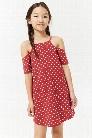 Girls Polka Dot Open-Shoulder Dress (Kids)