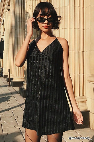 Velvet Shadow Metallic Stripe Dress