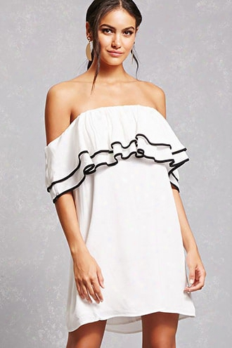 Contrast Trim Flounce Dress