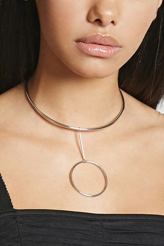 Drop Hoop Collar Necklace