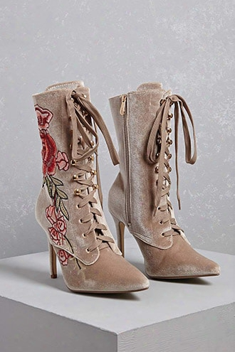 Embroidered Floral Boots