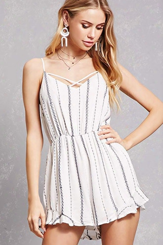 Embroidered Stripe Romper