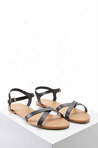 Faux Leather Crisscross Sandals