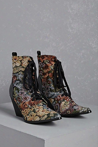Floral Metallic Victorian Boots