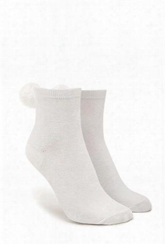 Fuzzy Pom Pom Crew Socks
