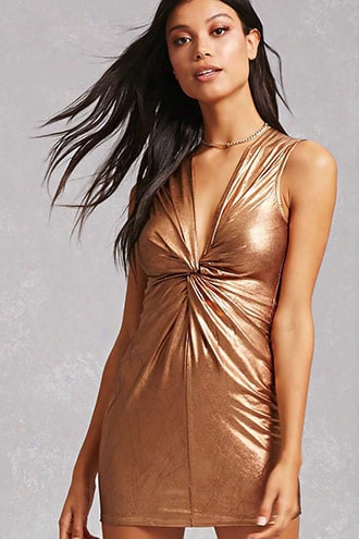 Knotted Metallic Mini Dress