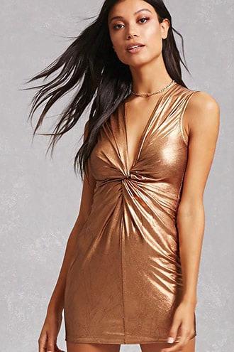 Knotted Metallic Mini Dress