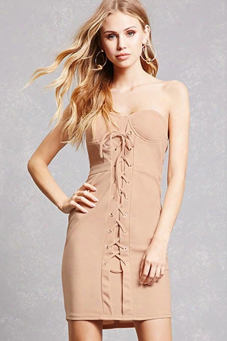Lace-up Grommet Tube Dress