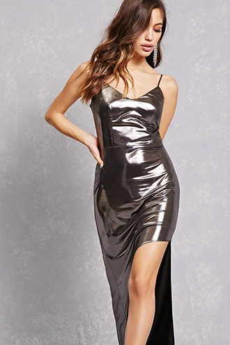Metallic High-low Dress
