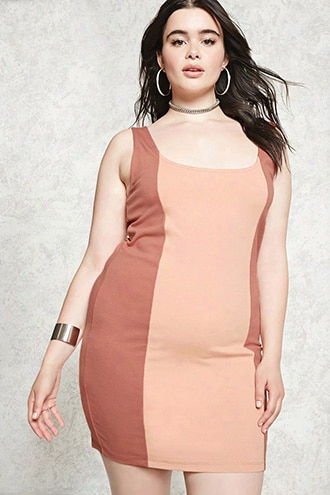 Plus Size Colorblock  Dress