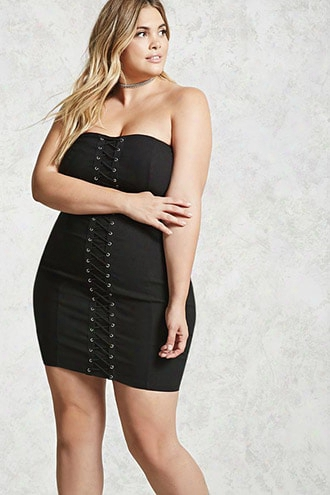 Plus Size Lace-up Dress
