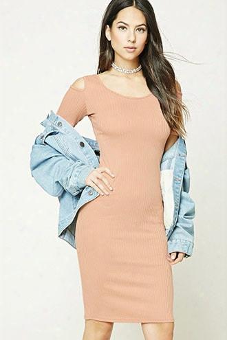 Ribbed Open-shoulder Dress