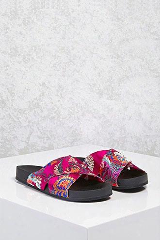 Satin Floral Crisscross Sandals