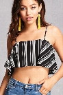Striped Flounce Crop Top