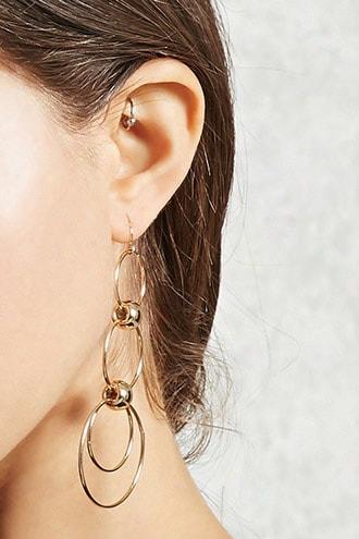 Tiered Hoop Drop Earrings