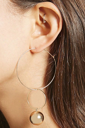 Wire Hoop Bauble Earrings