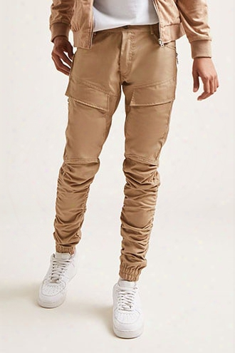 American Stitch Ruched Twill Joggers