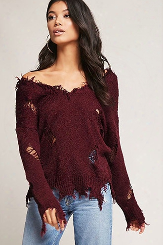 Distressed Frayed-trim Sweater