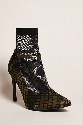 Fishnet Camo Print Pumps