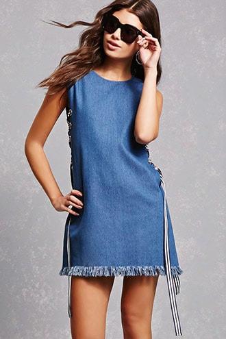 Lace-up Chambray Dress
