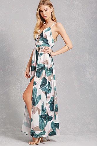 Leaf M-slit Maxi Dress
