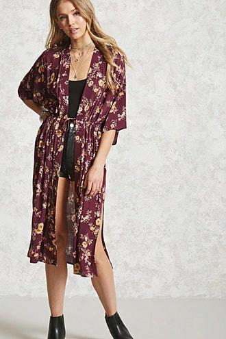 Longline Self-tie Floral Kimono
