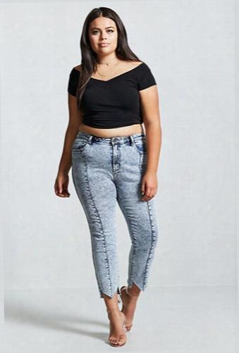Plus Size Acid Wash Shark Bite Jeans