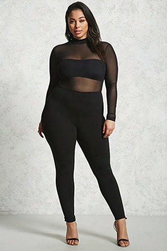 Plus Size Mesh Knit Jumpsuit
