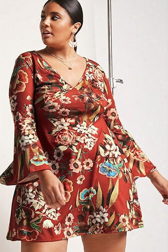 Plus Size Pink Clove Bell-sleeve Dress