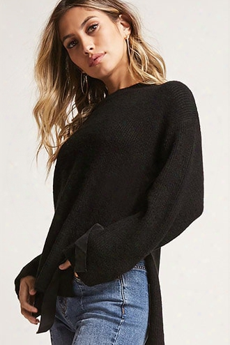Ribbon Tie High-low Sweater