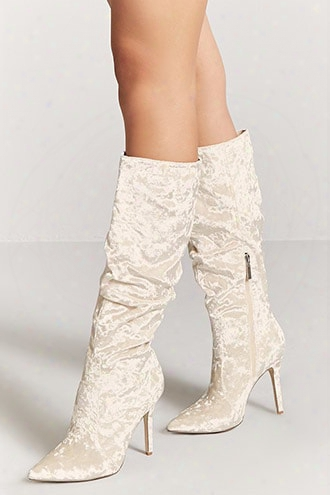 Crushed Velvet Stiletto Boots