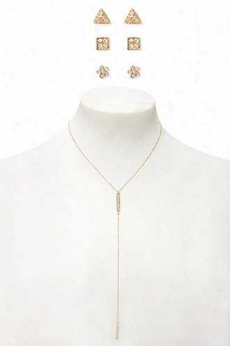 Drop Chain Necklace & Earring Set