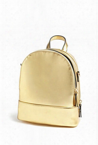 Faux Leather Mini Metallic Backpack