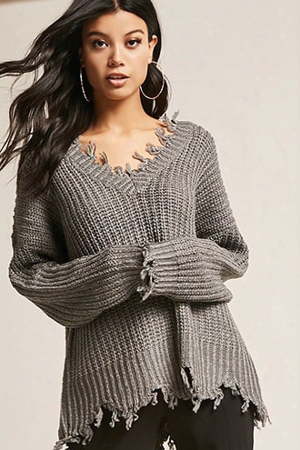 Frayed Marled Knit Sweater