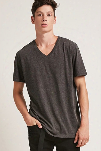 Heathered Cotton-blend V-neck Tee