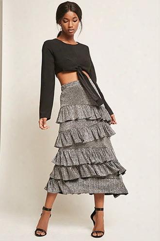 Metallic Ruffled Maxi Skirt