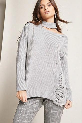 Mock Neck Cutout Sweater