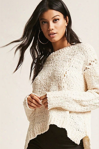 Open-knit Lace-up Sweater