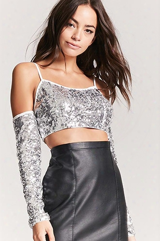 Open-shoulder Sequin Crop Top
