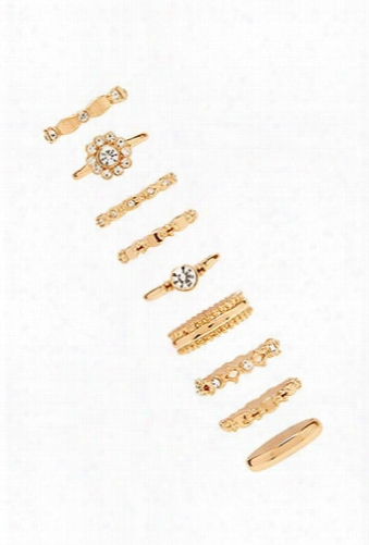 Ornate Rhinestone Ring Set