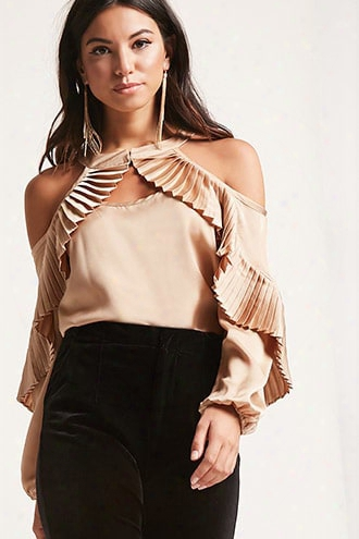 Pleated Open-shoulder Satin Top