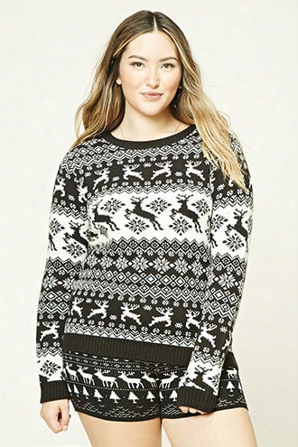 Plus Size Fair Isle Shorts